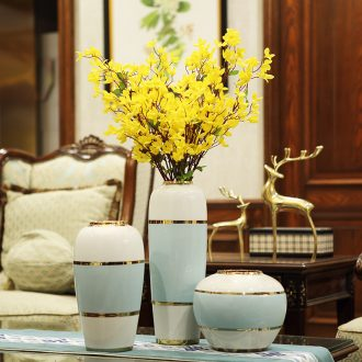 Postmodern ceramic light luxury european-style new Chinese vase flower arranging dried flowers TV ark place the sitting room porch decoration