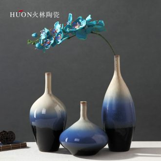 European contemporary and contracted vase furnishing articles blue Mediterranean living room TV ark household flower arranging art ceramics