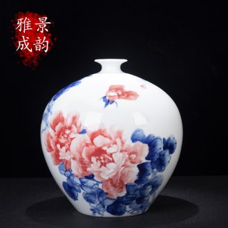 Scene rhyme jas in jingdezhen ceramic hand-painted peony vase decoration place to live in the sitting room porch porcelain