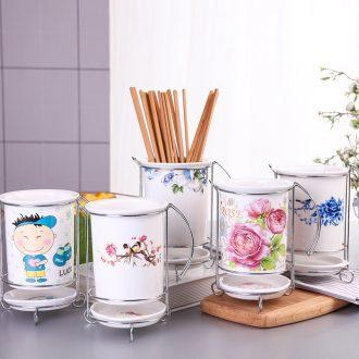 Ceramic household barrels of chopsticks chopsticks tube drop box of multi-function receive frame kitchen chopsticks box chopsticks chopsticks cage