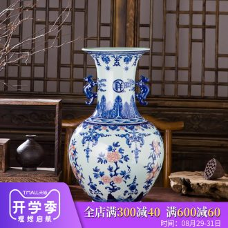 Manual hand-painted imitation qianlong vase antique Chinese blue and white porcelain is jingdezhen ceramics home sitting room adornment is placed