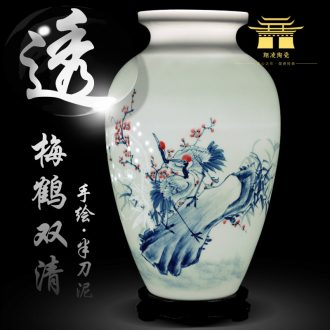 Hand draw blue and white porcelain of jingdezhen ceramics thin body new Chinese style household flower arrangement sitting room adornment handicraft furnishing articles