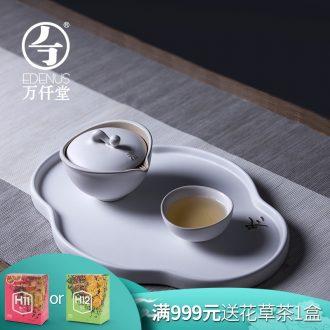 Million kilowatt/ceramic tea tray # ceramic contracted tea table rectangle single dry storage tea retainer plate of the four seasons