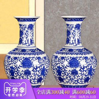 Blue and white porcelain of jingdezhen ceramics floret bottle archaize sitting room adornment new Chinese style household crafts are arranging flowers
