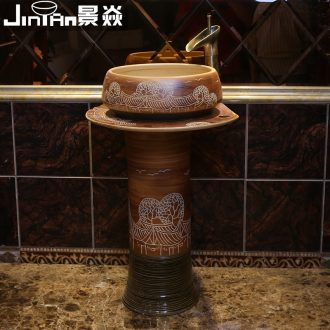 JingYan archaize pillar basin ceramic lavatory basin vertical column type toilet lavabo one-piece column basin