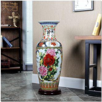 Jingdezhen ceramics powder enamel vase of large hotel opening gifts lobby decoration crafts are sitting room