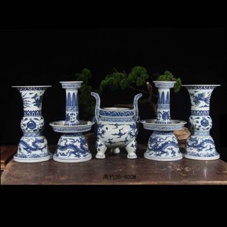 Blue and white five suits for porcelain jingdezhen hand-painted temple gods censer candlestick furnishing articles three candlestick incense burner