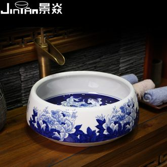 JingYan jingdezhen blue and white porcelain art basin bathroom sinks the stage of the basin that wash a face basin - hibiscus