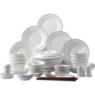 Ijarl million jia ou plaid 56 sets of household ceramic dish plate tableware suit