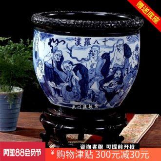 Jingdezhen ceramics goldfish bowl water lily freehand brushwork figure 18 arhats cylinder cylinder tortoise home decoration furnishing articles