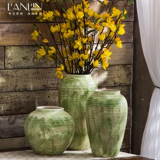 American ceramic green European crude some ceramic pot vase dried flower simulation flower furnishing articles sitting room the flower vase