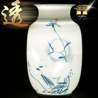 Jingdezhen ceramics hand-painted thin foetus enamel HeCu new Chinese style household flower arrangement sitting room adornment vase furnishing articles