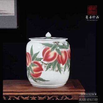 Jingdezhen hand-painted xiantao porcelain rice pot bright red porcelain decorative vegetable oil tea oil porcelain pot xiantao lotus