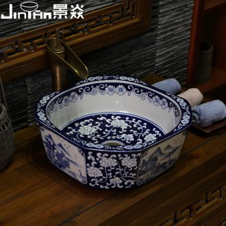 JingYan Chinese art on the stage of blue and white porcelain basin jingdezhen ceramic lavatory household toilet lavabo on stage