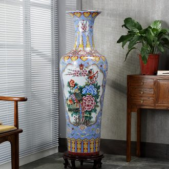 Jingdezhen ceramic big vase hand-painted pastel archaize floor big vase furnishing articles of contemporary sitting room opening gifts