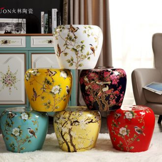 Jingdezhen American country ceramic drum stool cold pier in shoes stool toilet stool courtyard pavilion dry stool Chinese handicraft furnishing articles
