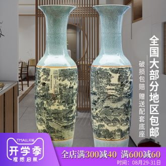 Jingdezhen ceramics qingming scroll archaize floor big vase furnishing articles of Chinese style classical sitting room adornment ornament
