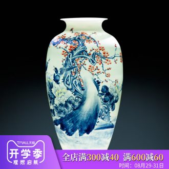 Jingdezhen ceramics famous master hand painted blue and white porcelain vase furnishing articles of Chinese style decoration decoration large living room