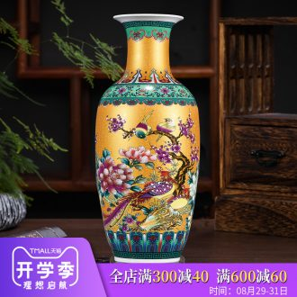Archaize of jingdezhen ceramics colored enamel large vases, flower arranging living room TV cabinet decoration of Chinese style household furnishing articles