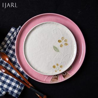 Million jia creative ceramic tableware plate beefsteak plates home dishes dumplings of plate to vomit all the bone plate