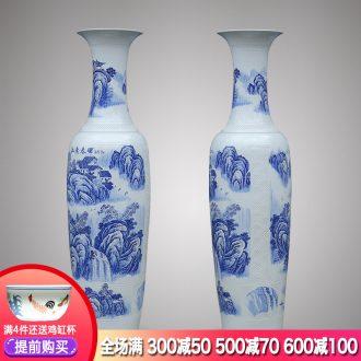 Jingdezhen ceramics of large blue and white porcelain vase 1 m 6-2 meters outside the villa living room hall furnishing articles