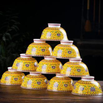 Jingdezhen domestic 10 bowl of archaize ceramic rice bowl bowl bowl of porridge hot tall bowl gift bowl suit