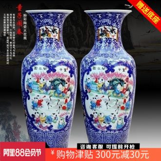 Blue and white porcelain of jingdezhen ceramics archaize lad spring of noise figure of large sitting room place vase hotel decoration