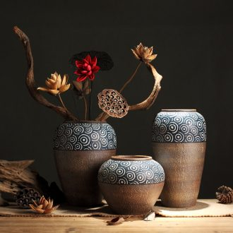 Zen ceramic dried flower vase planting new Chinese style restoring ancient ways of primitive simplicity do old manual coarse clay pottery flowerpot furnishing articles