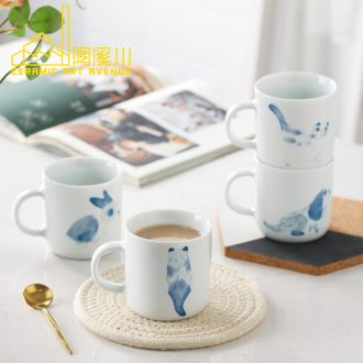 Mark cup creative ceramic cup Nordic ins personality cat cute coffee cup hand-drawn cartoons gifts