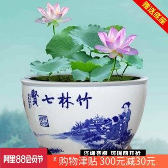 Seven sages of bamboo forest jingdezhen ceramic goldfish bowl sitting room office desktop furnishing articles large fish basin tortoise cylinder
