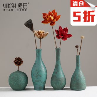 Ceramic vase furnishing articles sitting room flower arranging Chinese bronze floret zen home wine porch decorate restoring ancient ways