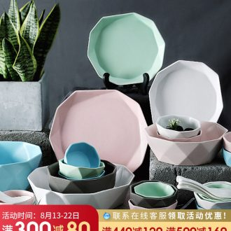 Creative special ceramics tableware household personality dishes suit combination Korean bowl dish bowl chopsticks to eat