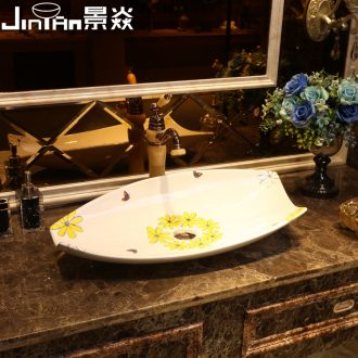 JingYan yellow daisies art stage basin special-shaped ceramic lavatory creative personality basin bathroom sink