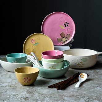 Million jia 2 dishes suit household ceramics net individuality creative ins Japanese red bowl chopsticks dishes cutlery set