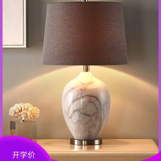 American marble lamp lamp of bedroom the head of a bed European creative ceramic contracted and contemporary sitting room warm wedding marriage room