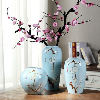 Contemporary and contracted jingdezhen ceramic flower vases Chinese creative living room blue dried flowers home furnishing articles