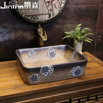 JingYan blue and white porcelain art stage basin of Chinese style restoring ancient ways jingdezhen ceramic lavatory rectangle archaize lavabo