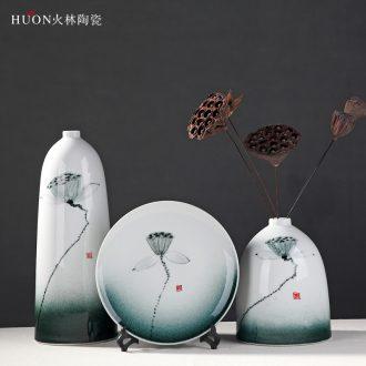 Modern new Chinese vase furnishing articles flower implement the sitting room TV ark wine desktop plug-in dried flowers household ceramic furnishings