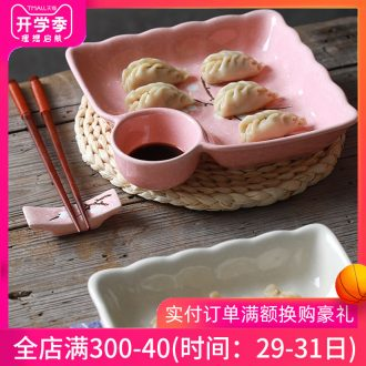 Ceramic dumpling dish home meal plate creative contracted frame plate jingdezhen cutlery japanese-style vinegar dish of household food dish