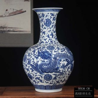 Jingdezhen blue and white dragon vase bound Chinese style classical decoration lotus flower dragon vase around 50 high the celestial sphere