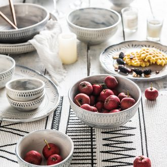 Million jia web celebrity ins ceramic tableware dishes creative household Nordic tableware moved into gift set the Louvre