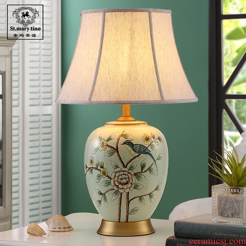 Contemporary and contracted new Chinese style lamp light buddhist meaning ceramic desk lamp of bedroom the head of a bed the sitting room is the study of household creative restoring ancient ways