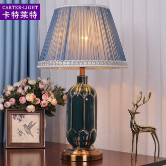 American simple desk lamp bedroom berth lamp ceramic sitting room study modern warm romantic wedding creative remote control