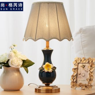 American simple ceramic small table lamp of bedroom the head of a bed modern creative adjustable light European romantic wedding celebration of warmth