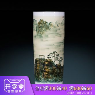 Jingdezhen ceramics famous master hand of large blue and white porcelain vase painting scroll cylinder sitting room place