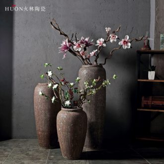 New Chinese style restoring ancient ways of jingdezhen ceramic POTS do old ceramic flower implement sitting room put dried flowers of large vases, coarse pottery furnishing articles