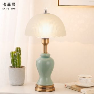 American ceramic desk lamp light household contemporary and contracted romantic and warm touch of bedroom the head of a bed is adjustable light bedside table lamp