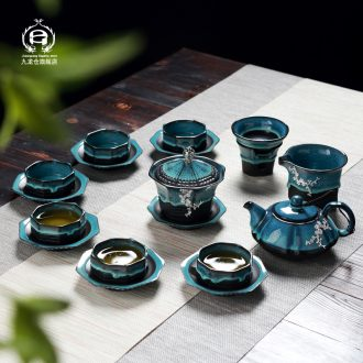 DH jingdezhen kung fu tea set suit household creative kiln small glass ceramic cups tureen teapot