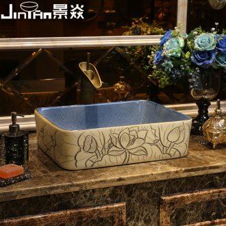 JingYan lotus carving art stage basin rectangle ceramic lavatory household washing basin on the sink