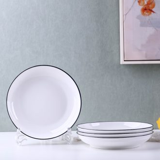 Contracted the black ceramic plate tableware 0 dish soup bowl fish dish western area the household rice bowls bowl of deep dish